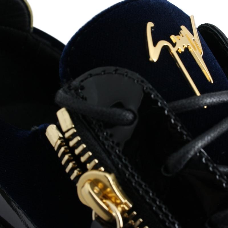 """FRANKIE"" velour bleu signature dorée"